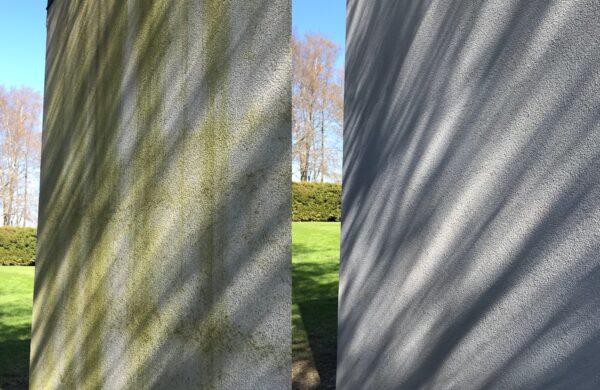 kuumavee survepesu ja pindade kaitsetöötlus sammaldunud fassaad survepesu krohvfassaad krohv kroff krof vetikas roheline fassaad roheline sein