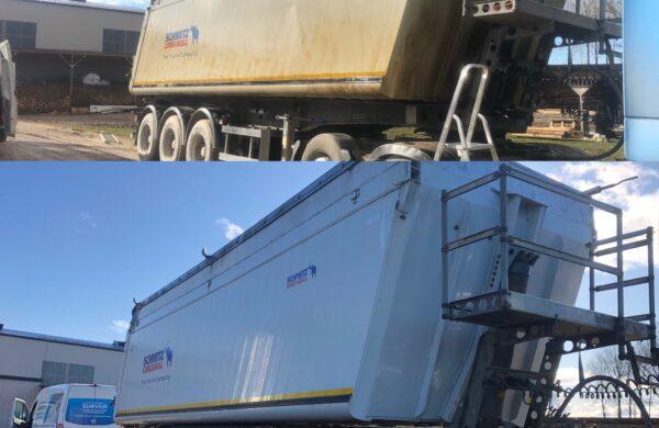 kuumavee survepesu ja pindade kaitsetöötlus veoauto pesu rasketehnika poolhaage survepesu poolhaake põllumajandus